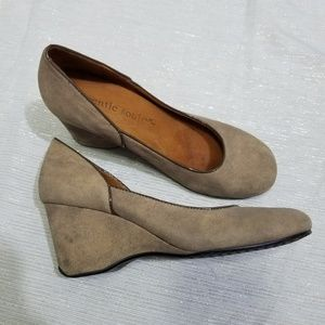 Gentle Souls Brown Suede Wedges Ridge Amaru 7.5